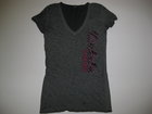 OURAY WOMENS V-NECK VINTAGE BLACK/GRAY T-SHIRT W/SPARTANS DOWN SIDE