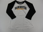 LEAGUE WOMENS BASEBALL TEE W/MANCHESTER & CURSIVE SPARTANS