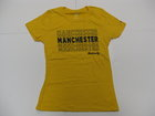 LEAGUE WOMENS GOLD TEE W/MANCHESTER REPEATED